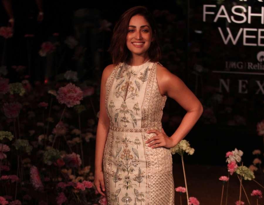 Mumbai: Actress Yami Gautam showcases fashion designer Anita Dogre's creation on Day 2 of the Lakme Fashion Week (LFW) Summer/Resort 2019 in Mumbai, on Jan 31, 2019. (Photo: IANS) by .