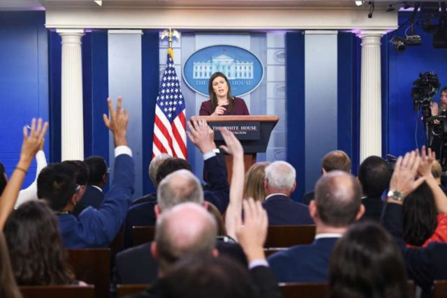 WASHINGTON, Aug. 14, 2018 (Xinhua) -- White House spokesperson Sarah Sanders attends a press briefing at the White House in Washington D.C., the United States, Aug. 14, 2018. The White House said Tuesday that U.S. National Security Advisor John Bolton will meet his Russian counterpart in Geneva of Switzerland next week as a