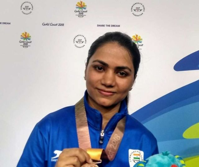 Gold Coast: Indian shooter Apurvi Chandela who bagged bronze in women's 10m Air Rifle event at the 21st Commonwealth Games in Gold Coast, Australia. (Photo: IANS/Twitter/@PMOIndia) by .