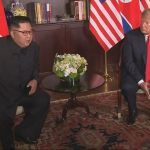 Singapore: U.S. President Donald Trump speaks with North Korean leader Kim Jong-un before their historic summit at the Capella Hotel in Singapore on June 12, 2018, in this photo capture from Yonhap News TV.(Yonhap/IANS) by .