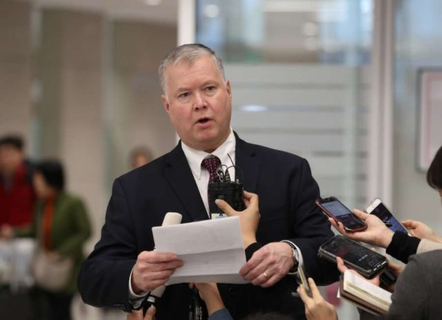 Seoul: Stephen Biegun, the top U.S. diplomat on North Korea, answers reporters' questions upon arriving at Incheon International Airport, west of Seoul, on Dec. 19, 2018.(Yonhap/IANS) by .