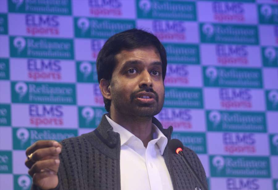 New Delhi: National badminton coach Pullela Gopichand addresses during the launch of ELMS Sports in New Delhi on Dec 19, 2017. (Photo: IANS) by .