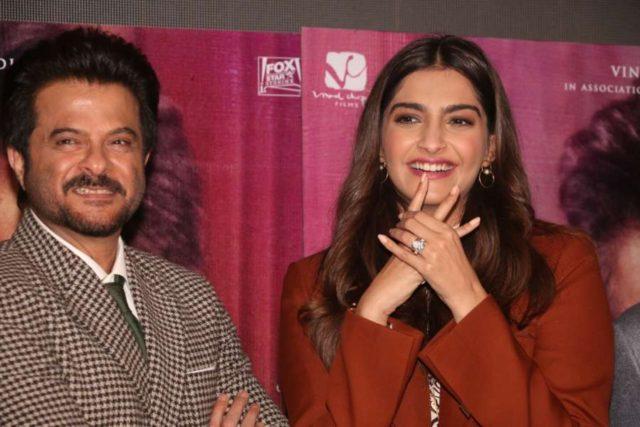 Mumbai: Actors Anil Kapoor and Sonam Kapoor at the trailer launch of the film