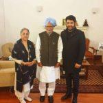 New Delhi: Comedian-actor-producer Kapil Sharma meets Former Prime Minister Manmohan Singh and his wife Gursharan Kaur in New Delhi, on Feb 5, 2019. (Photo: Twitter/@KapilSharmaK9) by .