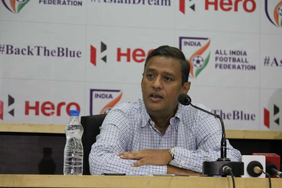New Delhi: All India Football Federation (AIFF) General Secretary Kushal Das addresses a press conference in New Delhi on July 2, 2018. (Photo: IANS) by .