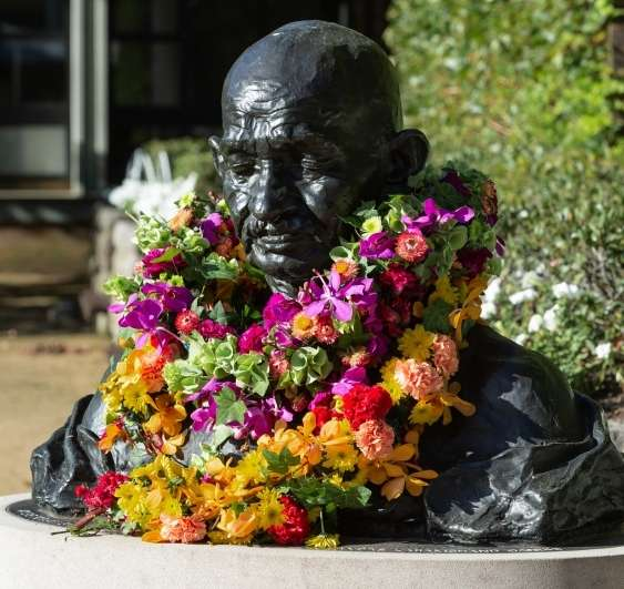 The Gandhi bust at UNSW, adorned with flowers after the Gandhi Remembrance Ceremony. (Photo courtesy: Jacquie Manning/UNSW) by .