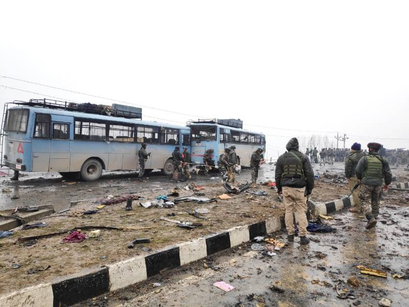 Pulwama: Pulwama: The site on on the Srinagar-Jammu highway where 20 Central Reserve Police Force (CRPF) troopers were killed and 15 others injured in an audacious suicide attack by militants in Jammu and Kashmir's Pulwama district on Feb 14, 2019. All the injured have been shifted to the Army's Base Hospital in Srinagar. (Photo: IANS) by .