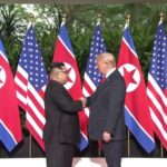 Singapore: U.S. President Donald Trump (R) shakes hands with North Korean leader Kim Jong-un ahead of their historic summit at the Capella Hotel in Singapore on June 12, 2018, in this photo captured from the website of The Strait Times. (Yonhap/IANS) by .