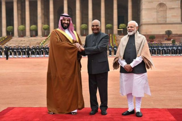 New Delhi: Saudi Crown Prince Mohammed bin Salman meets President Ram Nath Kovind and Prime Minister Narendra Modi during his ceremonial welcome in New Delhi, on Feb 20, 2019. (Photo: IANS/MEA) by .