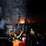 DHAKA, Feb. 21, 2019 (Xinhua) -- Rescuers work at a fire site in Dhaka, Bangladesh, Feb. 21, 2019. At least 40 people were killed and scores injured in a fire that ripped through a building in Bangladesh capital Dhaka Wednesday night, local media reported. The fire broke out at around 10 p.m. local time at a building in old Dhaka. The flames then quickly spread to other buildings nearby, said a local fire service official. (Xinhua/Salim Reza/IANS) by .