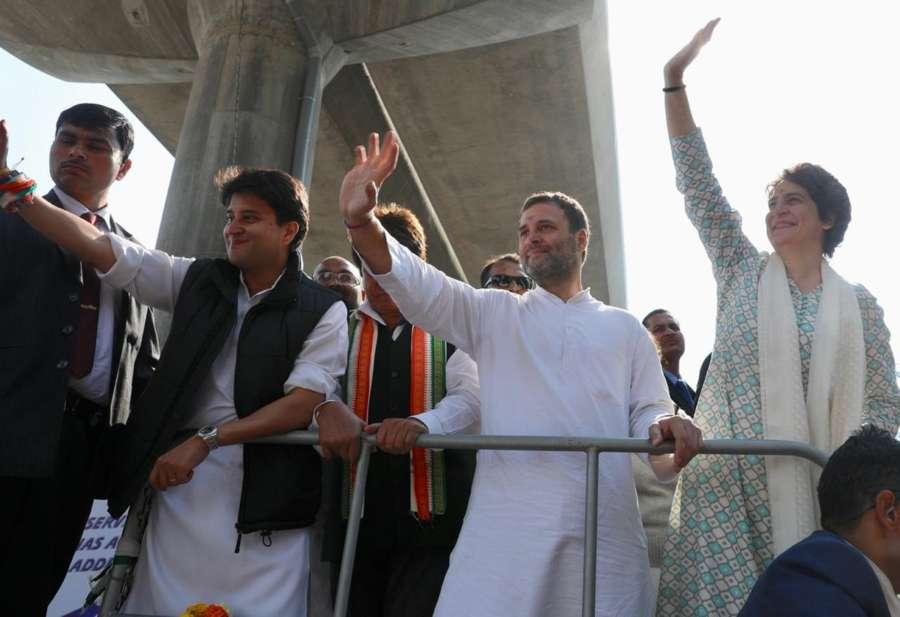 Lucknow: Congress leaders Rahul Gandhi, Priyanka Gandhi Vadra and Jyotiraditya Scindia during a road show in Lucknow on Feb 11, 2019. (Photo: IANS/AICC) by .