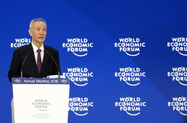 DAVOS, Jan. 24, 2018 (Xinhua) -- Liu He, a member of the Political Bureau of the Communist Party of China (CPC) Central Committee and director of the General Office of the Central Leading Group for Financial and Economic Affairs, gives a speech during the Annual Meeting 2018 of the World Economic Forum (WEF) in Davos, Switzerland, on Jan. 24, 2018. (Xinhua/Luo Huanhuan/IANS) by .