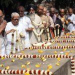 Kolkata: Poet Shankha Ghosh and Left Front Chairman Biman Bose pay tributes at 'Bhasha Shahid Bedi', on International Mother Language Day in Kolkata, on Feb 21, 2019. (Photo: IANS) by .