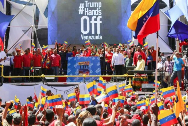 CARACAS, Feb. 24, 2019 (Xinhua) -- Image provided by Venezuela's Presidency shows President Nicolas Maduro attends a pro-government rally in Caracas, capital of Venezuela, on Feb. 23, 2019. Venezuelan President Nicolas Maduro announced on Saturday severance of diplomatic and political relations with neighboring Colombia, following the latter one's support for Venezuela's right-wing opposition and military defectors.