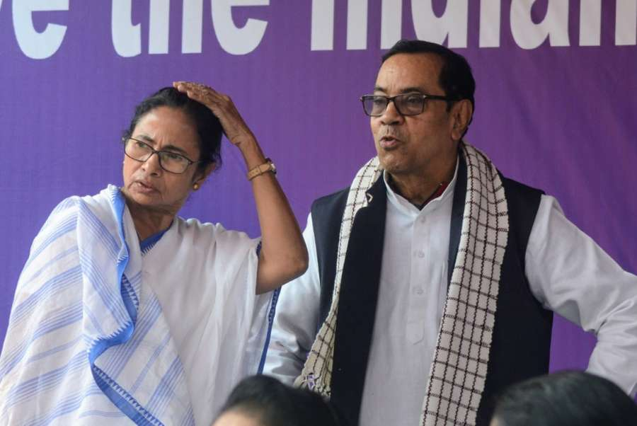 Kolkata: West Bengal Chief Minister Mamata Banerjee with Samajwadi Party (SP) leader Kiranmoy Nanda, who joined her during a sit-in (dharna) protest over the CBI's attempt to question Kolkata Police Commissioner Rajeev Kumar in connection with a ponzi scheme scam, near the Metro Channel in Kolkata on Feb 4, 2019. (Photo:. Kuntal Chakrabarty/IANS) by .