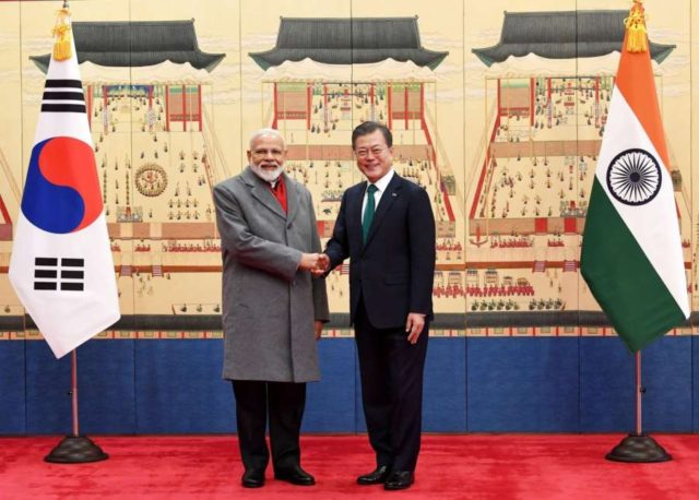 Seoul: Prime Minister Narendra Modi meets South Korean President Moon Jae-in ahead of the delegation level talks, in Seoul, South Korea, on Feb 22, 2019. (Photo: IANS/PIB) by .
