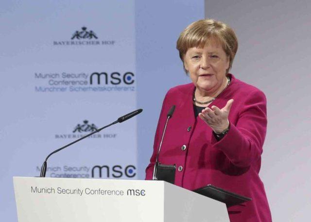 Munich: Feb. 16, 2019 (Xinhua) --German Chancellor Angela Merkel addresses the 55th Munich Security Conference (MSC) in Munich, Germany, on Feb. 16, 2019. (Xinhua/Ye Pingfan) by .