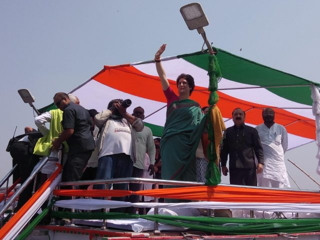 Prayagraj: Congress General Secretary and eastern Uttar Pradesh in-charge Priyanka Gandhi Vadra during her visit to Manaiya ghat in Kachnar tehsil of Prayagraj, on March 18, 2019. (Photo: IANS) by .
