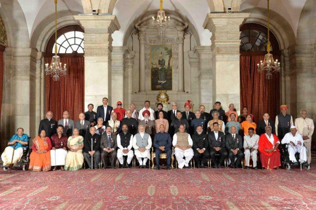 New Delhi: President Ram Nath Kovind, Prime Minister Narendra Modi, Union Home Minister Rajnath Singh and Union MoS Home Affairs Hansraj Gangaram Ahir with the recipients of Padma Awards at Rashtrapati Bhavan in New Delhi, on March 11, 2019. (Photo: IANS/RB) by .