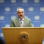 """UNITED NATIONS, May 8, 2018 (Xinhua) -- Stephane Dujarric, spokesperson for the United Nations secretary-general, reads out UN Secretary-General Antonio Guterres' statement concerning the U.S. withdrawal from the Iran nuclear deal at the UN headquarters in New York, on May 8, 2018. Antonio Guterres on Tuesday voiced """"deep concern"""" over U.S. President Donald Trump's decision to pull America out of the 2015 Iran nuclear deal. (Xinhua/Li Muzi/IANS) by ."""