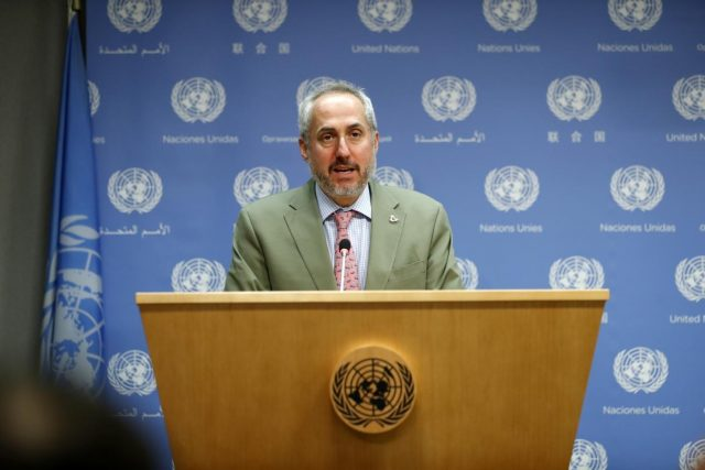 UNITED NATIONS, May 8, 2018 (Xinhua) -- Stephane Dujarric, spokesperson for the United Nations secretary-general, reads out UN Secretary-General Antonio Guterres' statement concerning the U.S. withdrawal from the Iran nuclear deal at the UN headquarters in New York, on May 8, 2018. Antonio Guterres on Tuesday voiced
