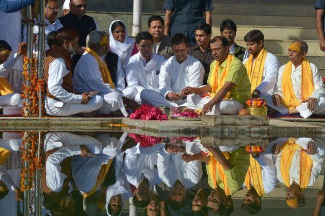 Pushkar: Congress President Rahul Gandhi and party leaders Sachin Pilot and Rajeev Shukla offer prayers at the Jagatpita Brahma Temple in Rajasthan's Pushkar, on Nov 26, 2018. (Photo: Shaukat Ahmed/IANS) by .