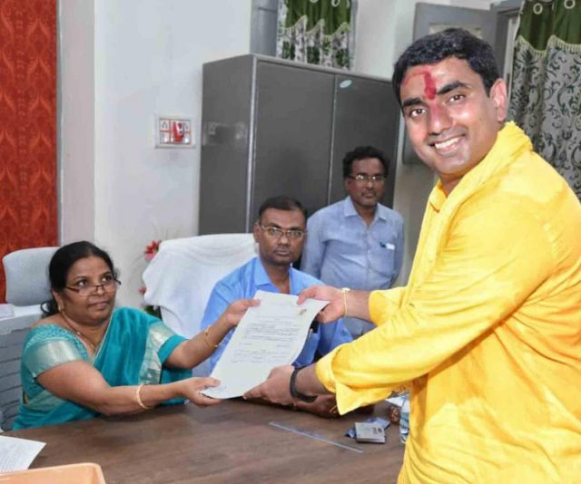 Guntur: Andhra Pradesh Chief Minister and TDP president N. Chandrababu Naidu's son Nara Lokesh files nomination for the upcoming State Assemblyelections from Mangalagiri assembly constituency in Guntur District, on March 22, 2019. (Photo: IANS) by .