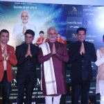 """Mumbai: Producer Suresh Oberoi, Sandeep Singh and director Omung Kumar with actor Vivek Oberoi dressed up as Prime Minister Narendra Modi at the trailer launch of their upcoming film """"PM Narendra Modi"""" in Mumbai, on March 20, 2019. (Photo: IANS) by ."""