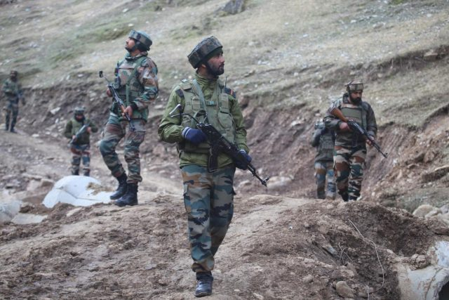 Baramulla: Security beefed up near Line of Control (LoC) in Churanda village of Jammu and Kashmir's Uri a day after Indian and Pakistani troops traded heavy fire across the LoC in Baramulla, on Feb 20, 2018. (Photo: IANS) by .