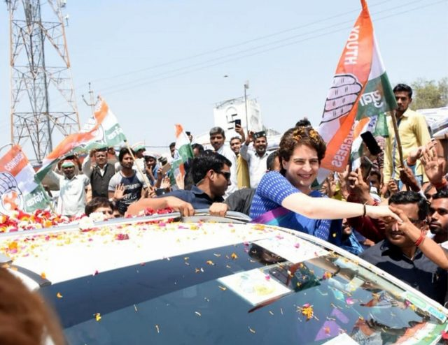 Amethi: Congress General Secretary Priyanka Gandhi Vadra greets party workers on her arrival in Uttar Pradesh's Amethi on March 27, 2019. (Photo: IANS) by .
