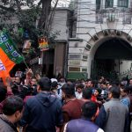 Kolkata: BJP workers stage a demonstration against West Bengal Government outside Election Commission Office in Kolkata, on Dec 21, 2017. The party accused the Trinamool of not letting its polling agents into certain polling booths during bypoll for the Sabang assembly constituency in the state. (Photo: IANS) by .