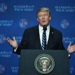 HANOI, Feb. 28, 2019 (Xinhua) -- U.S. President Donald Trump speaks at a press conference in Hanoi, Vietnam, Feb. 28, 2019. A gap remained between what the Democratic People's Republic of Korea (DPRK) wanted and what the U.S. wanted, Donald Trump told the press conference, explaining the earlier-than-scheduled end to his second summit with DPRK top leader Kim Jong Un. (Xinhua/Wang Shen/IANS) by .