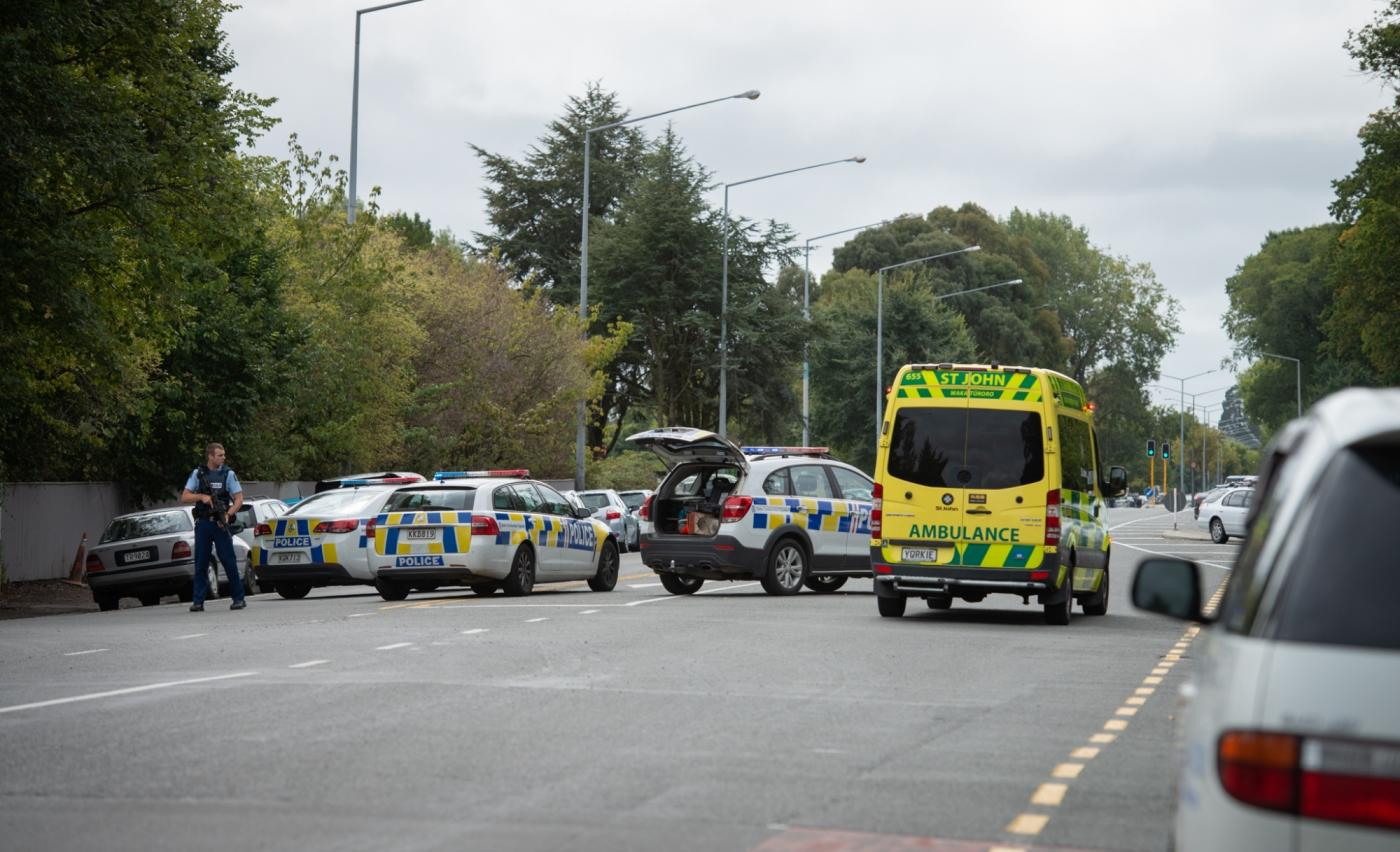 CHRISTCHURCH, March 15, 2019 (Xinhua) -- Police are seen on a road in Christchurch, New Zealand, March 15, 2019. At least 40 people were killed in mass shootings in two mosques of New Zealand's Christchurch, New Zealand Prime Minister Jacinda Ardern said on Friday. (Xinhua/Zhu Qiping/IANS) by .
