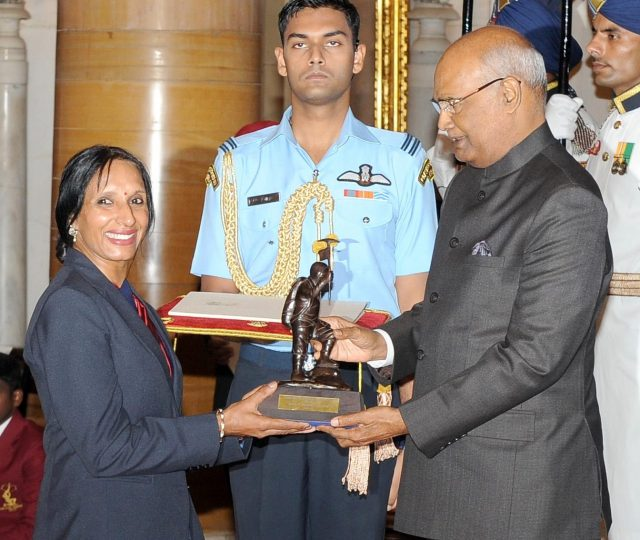 New Delhi: President Ram Nath Kovind presents the Tenzing Norgay National Adventure Award, 2017 to Premlata Agrawal for Land Adventure in a glittering ceremony at Rashtrapati Bhavan in New Delhi on Aug 29, 2017. (Photo: IANS/PIB) by .
