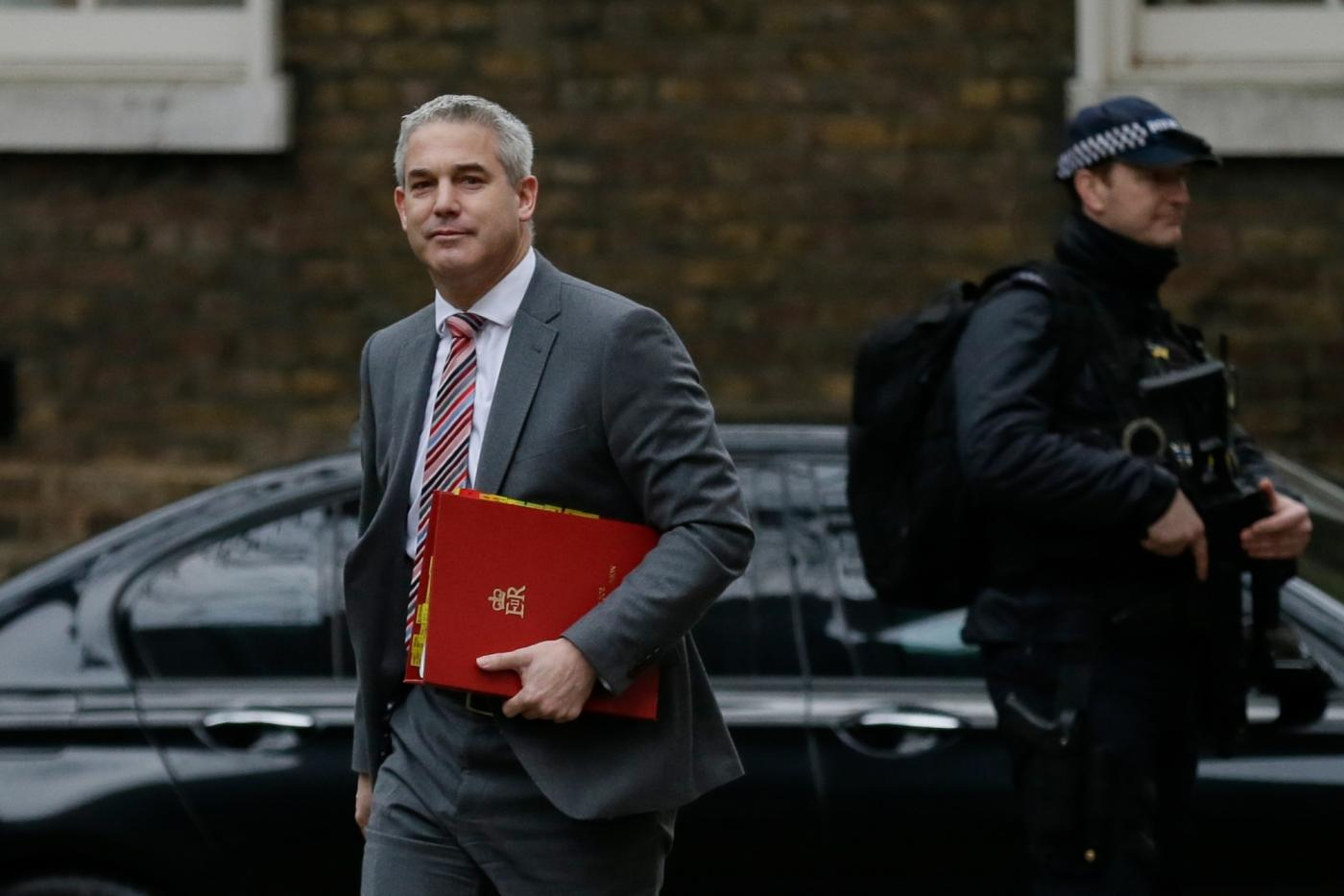 LONDON, Jan. 15, 2019 (Xinhua) -- British Brexit Secretary Stephen Barclay (L) arrives for a cabinet meeting at 10 Downing Street in London, Britain, on Jan. 15. 2019. A delayed parliamentary vote on the Brexit deal is scheduled to take place on Tuesday. (Xinhua/Tim Ireland/Li Muzi) by .