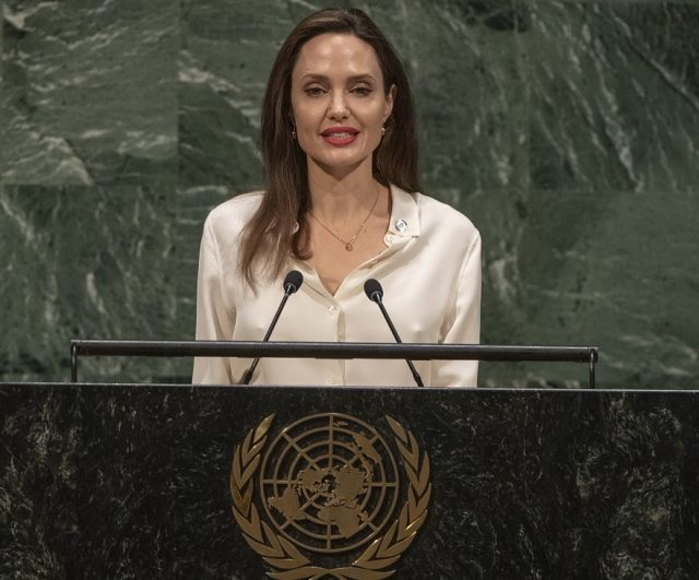 Actress Angelina Jolie, who is the Special Envoy of the United Nations High Commissioner for Refugees, addresses the United Nations Peacekeeping Ministerial meeting on Friday, March 29, 2019. (Photo: UN/IANS) by .