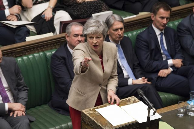 LONDON, March 29, 2019 (Xinhua) -- British Prime Minister Theresa May (Front) speaks during the debate in the House of Commons in London, Britain, on March 29, 2019. British lawmakers on Friday voted to reject Prime Minister Theresa May's Brexit deal, which has already been rejected twice in Parliament since January. (Xinhua/UK Parliament/Mark Duffy/IANS) by .