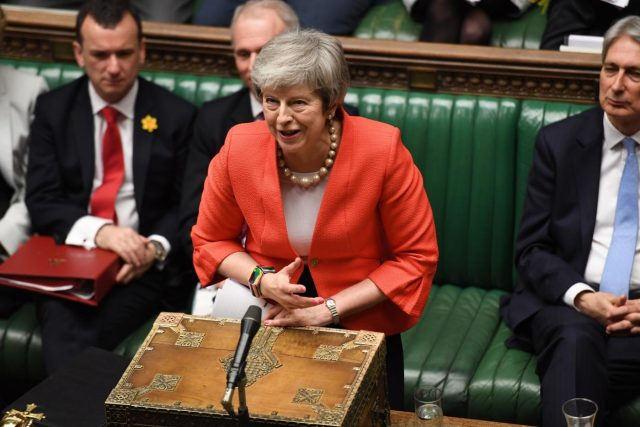 LONDON, Feb. 28, 2019 (Xinhua) -- British Prime Minister Theresa May attends the Prime Minister's Questions in the House of Commons in London, Britain, on Feb. 27, 2019. Theresa May promised on Tuesday that the members of parliament (MPs) would be given a choice to vote on no-deal Brexit or delayed departure from the European Union (EU) if her deal is rejected in a meaningful vote in mid-March. (Xinhua/British Parliament/Jessica Taylor/IANS) by .