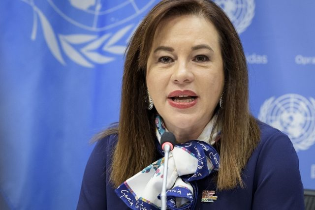 Maria Fernanda Espinosa, the president of the United Nations General Assembly, addresses a news conference on Friday, March 8, 2019, at the UN headquarters, (Photo: UN/IANS) by .