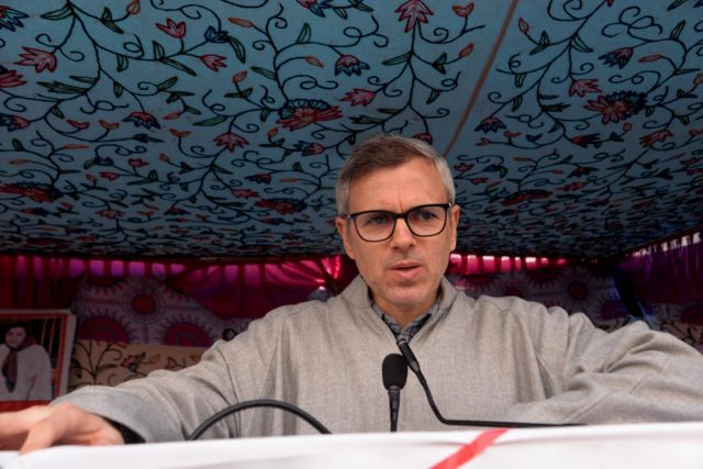 Kulgam: National Conference leader Omar Abdullah during a party rally at Noorabad in Jammu and Kashmir's Kulgam on March 18, 2019. (Photo: IANS) by .