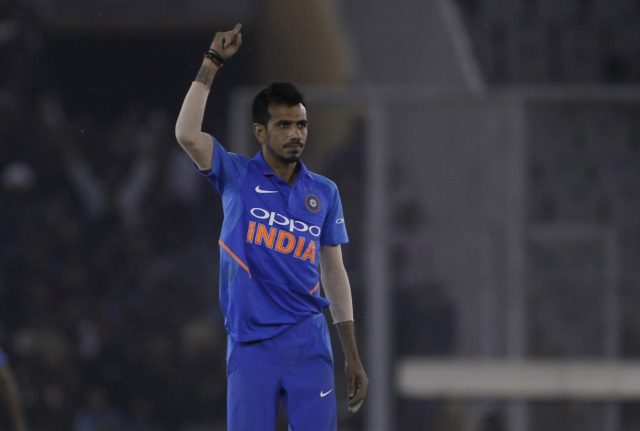 Mohali: India's Yuzvendra Chahal celebrates fall of Peter Handscomb's wicket during the fourth ODI match between India and Australia at Punjab Cricket Association IS Bindra Stadium in Mohali, Punjab on March 10, 2019. (Photo: Surjeet Yadav/IANS) by .