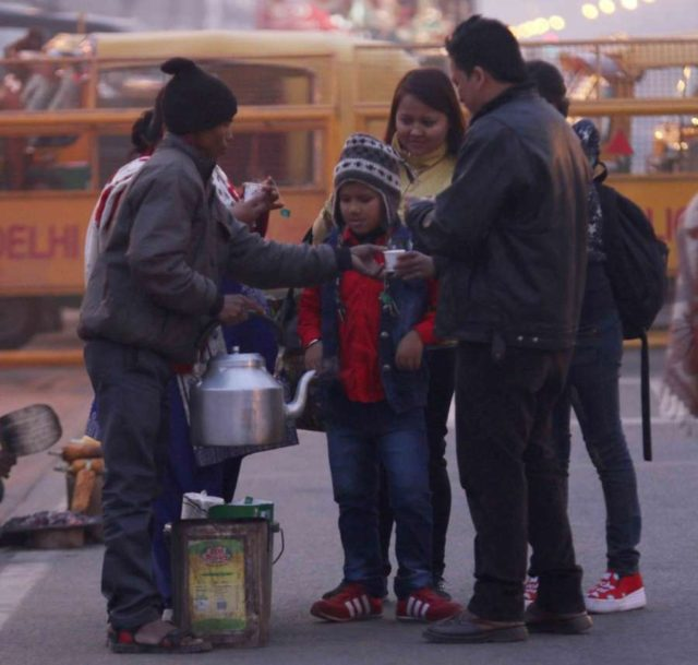 People enjoy tea on cold winter day. (File Photo: IANS) by .