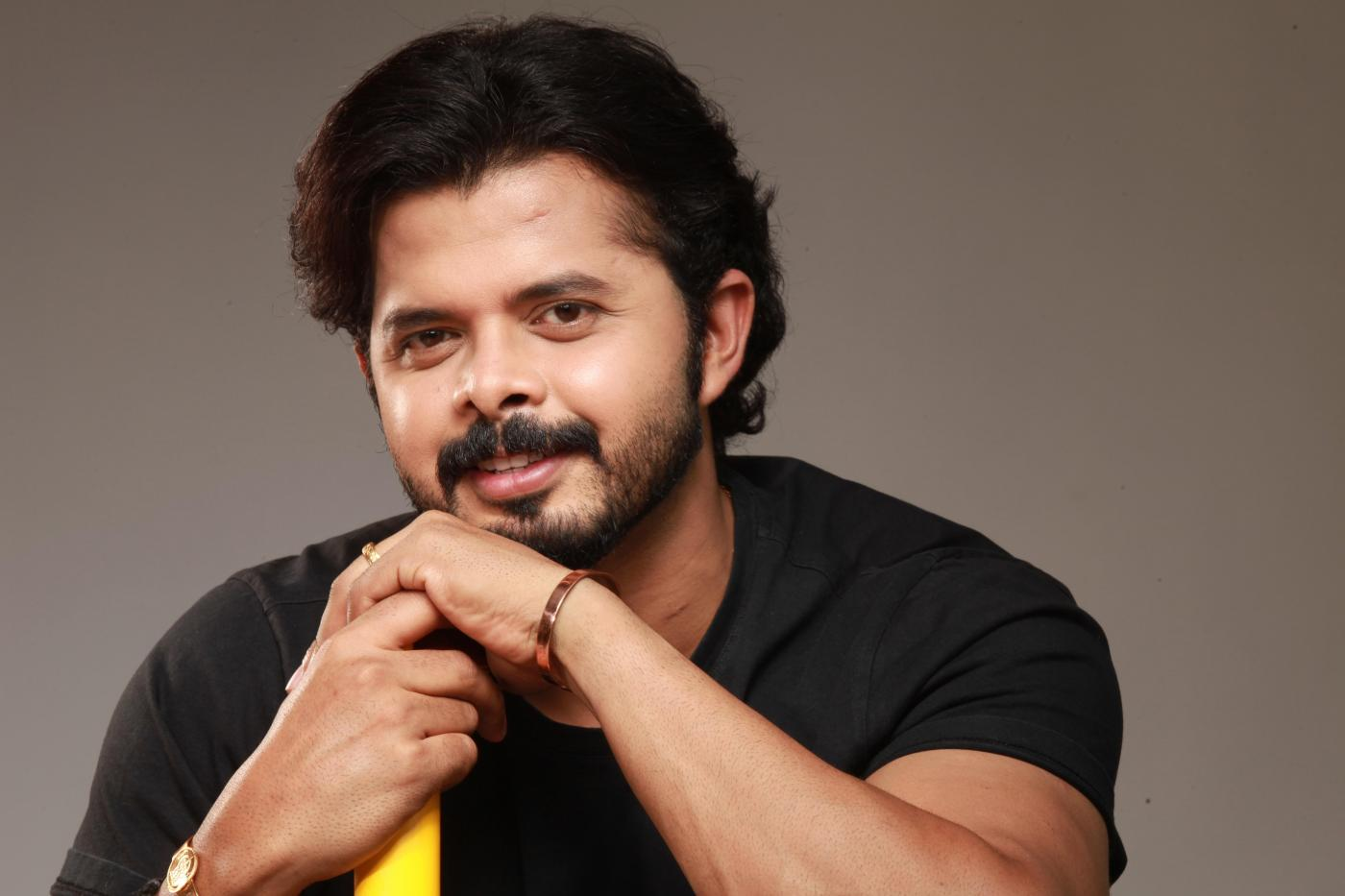 Hyderabad: Indian Cricketer Sreesanth during the press meet of his upcoming Telugu film `Multilingual` in Hyderabad. (Photo: IANS) by .