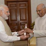 New Delhi: Prime Minister Narendra Modi calls on President Ram Nath Kovind at Rashtrapati Bhavan in New Delhi on Aug 9, 2018. (Photo: IANS/RB) by .