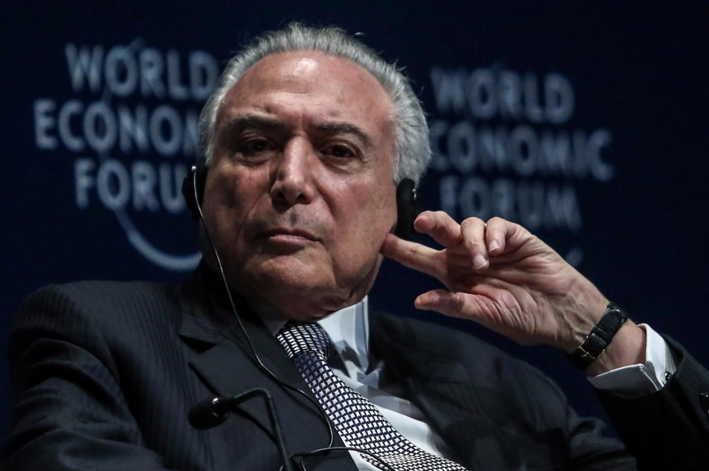 SAO PAULO, March 15, 2018 (Xinhua) -- Brazilian President Michel Temer takes part in the opening session of the World Economic Forum for Latin America, in Sao Paulo, Brazil, on March 14, 2018. (Xinhua/Rahel Patrasso/IANS) by .