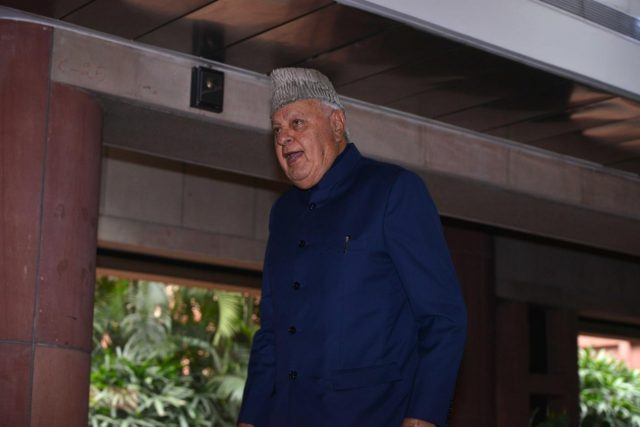 New Delhi: National Conference leader Farooq Abdullah departs after the all party meeting on the Pulwama terror attack at Parliament House, in New Delhi, on Feb. 16, 2019. (Photo: IANS) by .