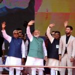 Patna: Prime Minister Narendra Modi along with Bihar Chief Minister Nitish Kumar, Deputy Chief Minister Sushil Kumar Modi and Union Ministers Ramvilas Pasvan, Ravi Shankar Prasad and Ram Kripal Yadav waves to the crowd at 'Sankalp Rally' in Patna, on March 3, 2019. (Photo: IANS) by .