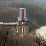 """PYONGYANG, April 9, 2016 (Xinhua) -- Photo provided by Korean Central News Agency (KCNA) on April 9, 2016 shows a ground test of a heavy-lift engine of a new-type intercontinental ballistic rocket at the Sohae Space Center, which is located at the Democratic People's Republic of Korea (DPRK)'s North Pyongan Province. The test proved a great success and is of significance in strengthening the country's nuclear forces and defense capabilities, said KCNA, adding that the engine of the intercontinental ballistic rocket met all scientific and technological indexes. The top leader of the DPRK Kim Jong Un made the order to commence the test and was satisfied with the result, saying that the success """"provided a firm guarantee for mounting another form of nuclear attack upon U.S. imperialists and other hostile forces and make it possible to have access to more powerful means capable of reacting to nukes in kind."""" The DPRK is now able to tip its intercontinental ballistic rockets with nuclear warheads and put the U.S. mainland within their striking range, he said. Kim called the test """"an eye-catching event"""" that demonstrated the DPRK's national defense potential and a victory that """"glorifies the 7th Congress of the Workers' Party of Korea,"""" which is slated for early May and considered the biggest event of the year for the country. (Xinhua/KCNA/IANS) by ."""