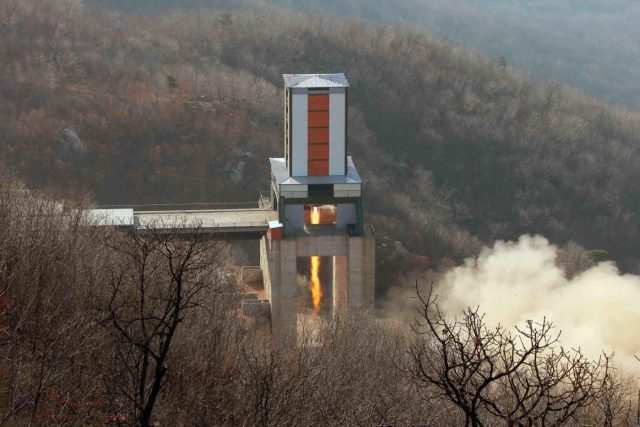 PYONGYANG, April 9, 2016 (Xinhua) -- Photo provided by Korean Central News Agency (KCNA) on April 9, 2016 shows a ground test of a heavy-lift engine of a new-type intercontinental ballistic rocket at the Sohae Space Center, which is located at the Democratic People's Republic of Korea (DPRK)'s North Pyongan Province. The test proved a great success and is of significance in strengthening the country's nuclear forces and defense capabilities, said KCNA, adding that the engine of the intercontinental ballistic rocket met all scientific and technological indexes. The top leader of the DPRK Kim Jong Un made the order to commence the test and was satisfied with the result, saying that the success