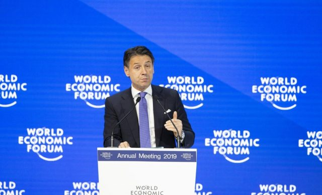 DAVOS (SWITZERLAND), Jan. 23, 2019 (Xinhua) -- Italian Prime Minister Giuseppe Conte speaks during a plenary session at the 49th annual meeting of the World Economic Forum (WEF) in Davos, Switzerland, Jan. 23, 2019. Attended by over 60 heads of state or government, 40 international organization heads and 1,700 business leaders, the four-day WEF meeting kicked off on Tuesday. (Xinhua/Xu Jinquan/IANS) by .